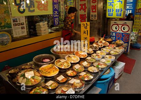 Food at the Namdaemun Market in South Koreas Capital Seoul, Asia - Stock Photo