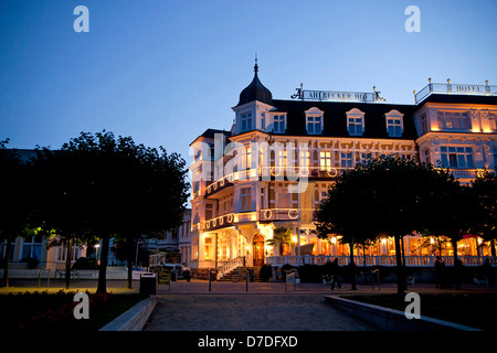 special historist style Architecture Baederarchitektur of Hotel Ahlbecker Hof at the promenade of the seaside resort - Stock Photo