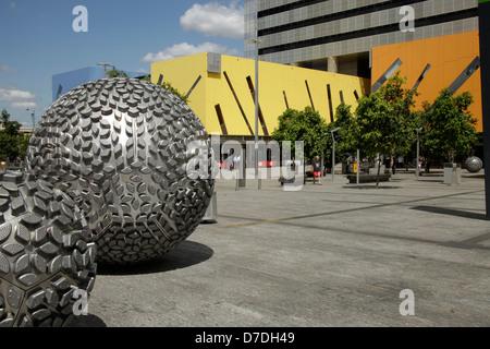 modern Architecture with silver balls in Brisbane, Queensland, Australia - Stock Photo