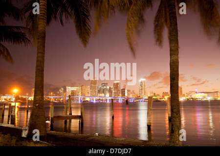 the illuminated Skyline of Downtown Miami, Florida, USA - Stock Photo