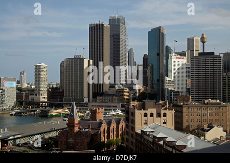 The Rocks, Circular Quay and the Skyline in Sydney, New South Wales, Australia - Stock Photo