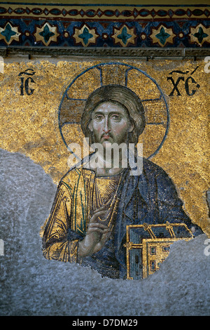 Christ, The Deesis Mosaic (12th centry) in The Hagia Sophia church, Istanbul, Turkey - Stock Photo