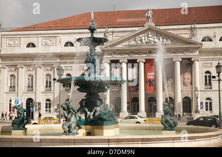 fountain in front of the National theater Dona Maria II on the square Praca de Dom Pedro IV or Rossio in Lisbon, - Stock Photo