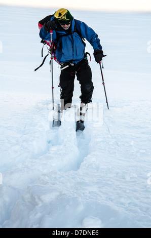 Cross Country Skier in Alaska - Stock Photo