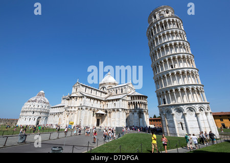 Leaning Pisa Tower and Cathedral in Pisa Italy - Stock Photo