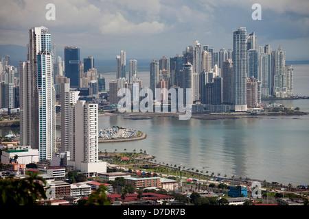 Cityscape and skyline of Panama City, seen from Cerro Ancon Mountain, Panama, Central America - Stock Photo