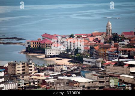 Old City, Casco Viejo, seen from Cerro Ancon Mountain, Panama, Central America - Stock Photo