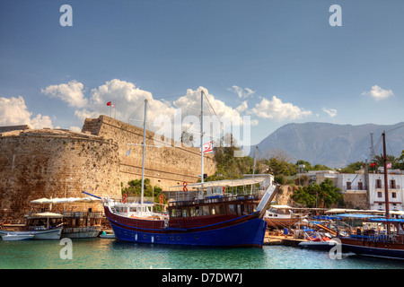 Medieval castle and harbour in Kyrenia, Cyprus. - Stock Photo