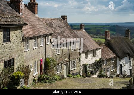 Gold Hill, Shaftesbury in April - Stock Photo