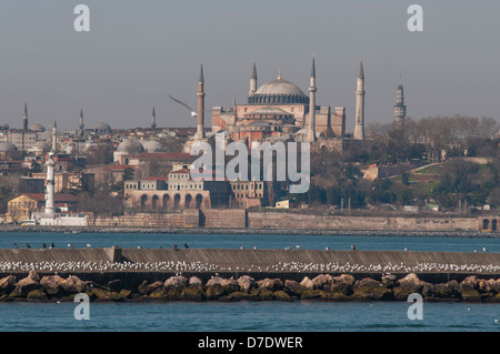 Hagia Sophia is a former Orthodox patriarchal basilica, later a mosque, and now a museum in Istanbul, Turkey - Stock Photo