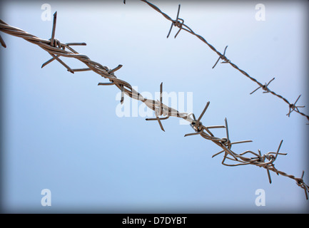 Straight fence barb wire on sky background. - Stock Photo