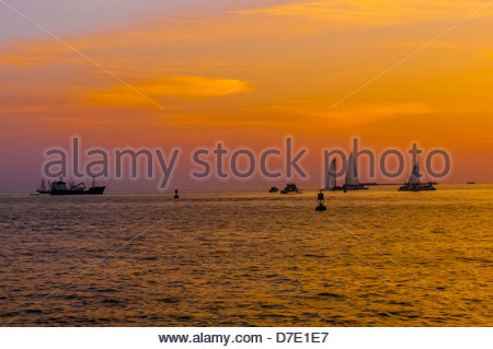 Boats off Mallory Square for the Sunset Celebration, Key West, Florida Keys, Florida USA - Stock Photo