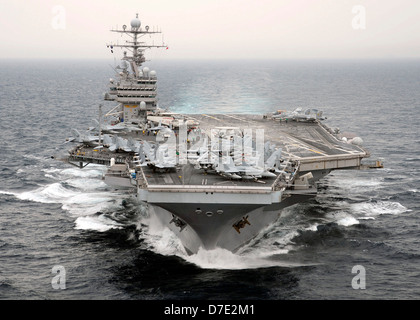 US Navy aircraft carrier USS Theodore Roosevelt underway during operations July 23, 2008 in the Atlantic Ocean. - Stock Photo