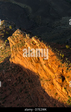 sunset at Mother point in the Grand Canyon in Arizona - Stock Photo