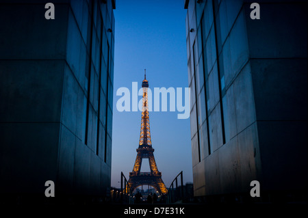 View of The Eiffel Tower from Ecole Militaire. - Stock Photo