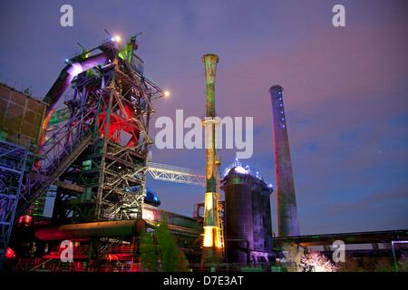 Light installation at the abandoned steel mill in Duisburg-Nord Landscape Park, Duisburg, Ruhr Area, North Rhine - Stock Photo