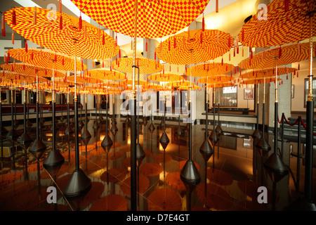 Umbrellas in the Royal Treasury, Royal Regalia Museum in the capital city, Bandar Seri Begawan, Brunei, Asia - Stock Photo