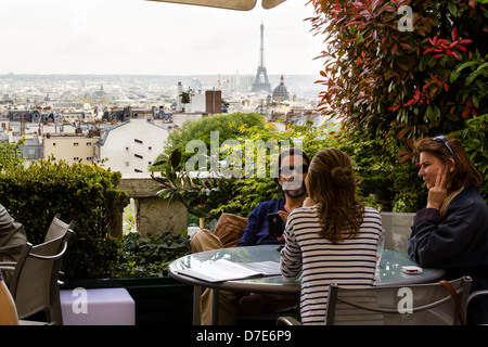 One of the most beautiful Parisian panoramic terrace bar with a view on the Eiffel Tower and city rooftops, Paris, - Stock Photo