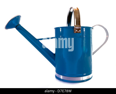 Old fashioned blue metal watering can with sprinkler enameled - Stock Photo
