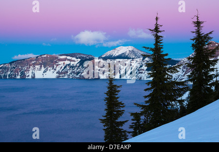Crater Lake National Park, located in southern Oregon, during winter - Stock Photo