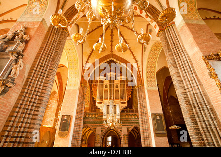 church organ and inside of Schleswig Cathedral, Schleswig, Schleswig-Holstein, Germany, Europe - Stock Photo