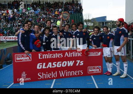 Glasgow, Scotland, UK. 5th May 2013. France beat Russia 21 - 17 to win the Shield at the 2013 Emirates Airline Glasgow - Stock Photo