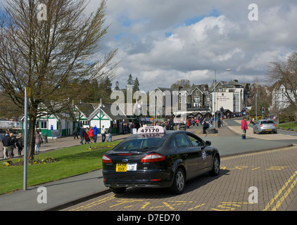 Taxi on rank in Bowness Bay, Lake District National Park, Cumbria, England UK - Stock Photo