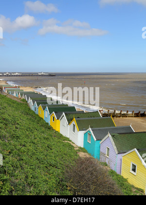 beach huts at southwold on the suffolk coast - Stock Photo