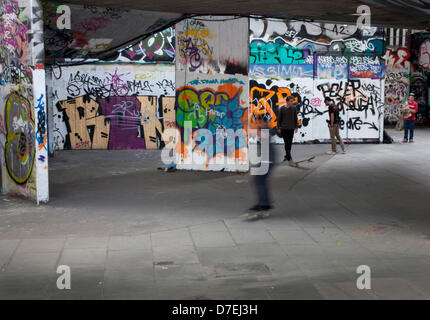 London, UK. 6th May 2013. The skateboarding park in the undercroft on London's South Bank arts centre is threatened - Stock Photo