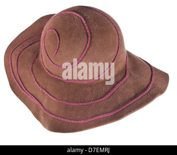 brown broad brim felt hat isolated on white background - Stock Photo