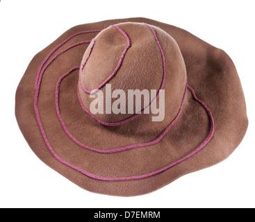 broad brim felt hat isolated on white background - Stock Photo