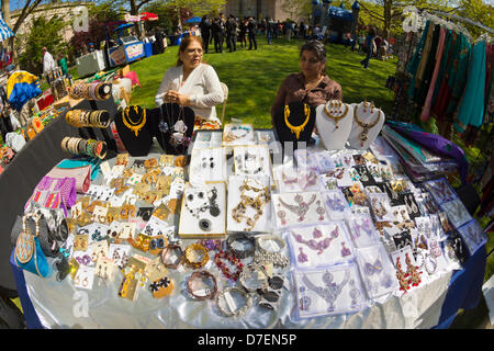 Hempstead, New York, USA. 5th May 2013. Jewelry is a popular item vendors are selling at the 30th Annual Dutch Festival - Stock Photo