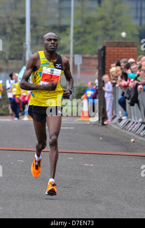 Belfast, Northern Ireland, UK. 6th May 2013. Kenyan James Rotich crosses the line to take second place in the 2013 - Stock Photo