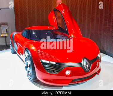 Paris, France, Renault Corporation, New Car Showroom, Inside Store, 'Dezir' Concept Electric Car - Stock Photo