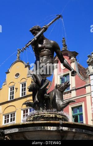 Gdansk, Neptun fountain at Long Market, Dlugi Targ, Langer Markt, Poland - Stock Photo