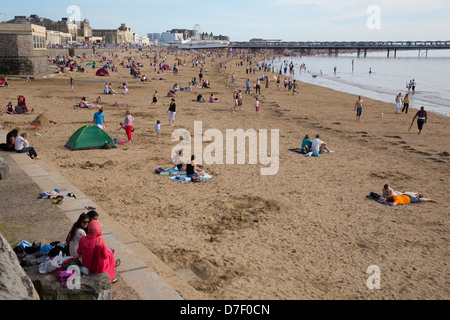 Weston-super-mare Somerset Bank Holiday 6th May 2013, crowds flock to the beach as temperatures soared on a sun - Stock Photo