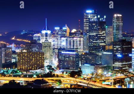 A Pittsburgh, Pennsylvania, USA cityscape. - Stock Photo