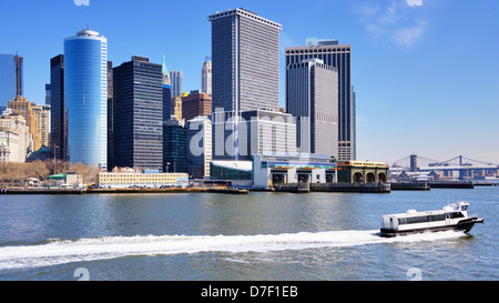 New York City skyline form the harbor. - Stock Photo