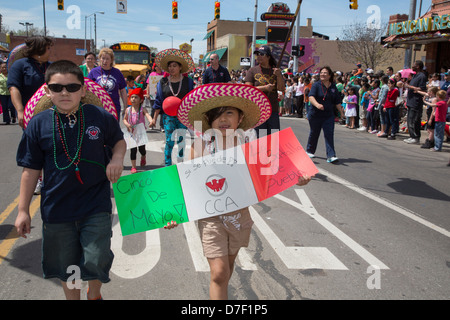 The annual Cinco de Mayo parade in the Mexican-American neighborhood of southwest Detroit. - Stock Photo