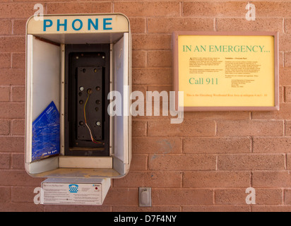 Phone booth for emergency, without a handset, on a rest area along Interstate 10 in Arizona, near the border with - Stock Photo