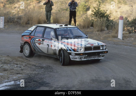 lancia delta integrale on the monte carlo rally 1990 Auriol Didier - Stock Photo