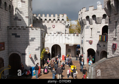 The castle containing the Dragon roller coaster ride, Legoland Windsor, London, England, United Kingdom. - Stock Photo
