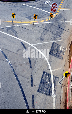 Looking down on road with markings and signs from above, Santa Monica, California, USA - Stock Photo