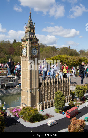 Big Ben clock tower ,Miniland, Legoland Windsor, Berkshire, England, United Kingdom - Stock Photo