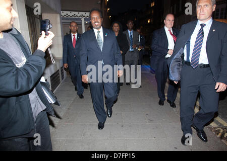 Somalia Conference, London, UK 07.05.2013 Picture shows Hassam Sheikh Mohamud, President of Somalia, arriving at - Stock Photo
