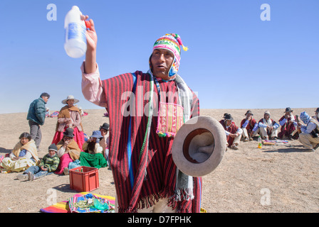 Ceremony aymara to the Mother Earth, Pachamama - Stock Photo