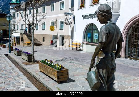 Italy Dolomites Trentino Alto Adige Ortisei houses stores of the historic town center - Stock Photo