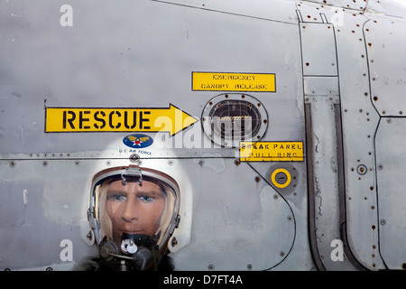 Model, Fighter Pilot with a pressure suit, US Air Force, Symbol ejection seat, Aircraft Collection Hermeskeil, Germany, - Stock Photo
