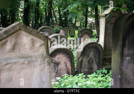 The old Jewish cemetery in Weiherstrasse, Fuerth (Fürth), Germany - Stock Photo