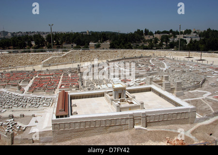 Reconstructed 2nd Temple as part of Model Of Ancient Jerusalem, exhibited at the Israel museum - Stock Photo